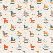Vector seamless pattern with funny wood horse and stars in pastel colors
