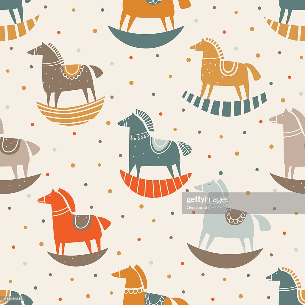 Vector seamless pattern with funny wood horse in pastel colors