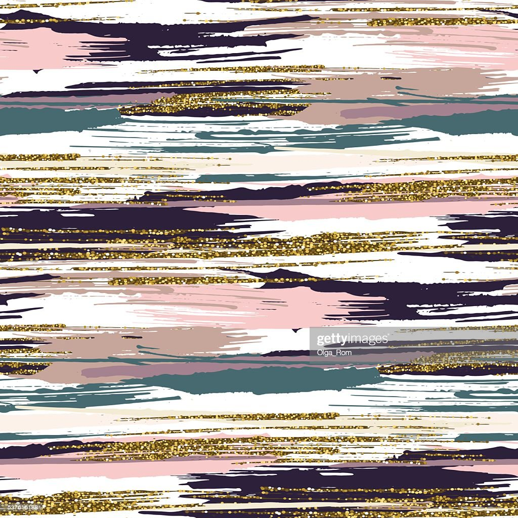 Vector seamless pattern with gold glitter textured brush strokes