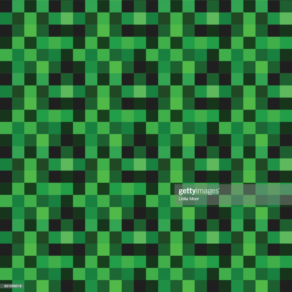 Vector Seamless pattern with green pixels