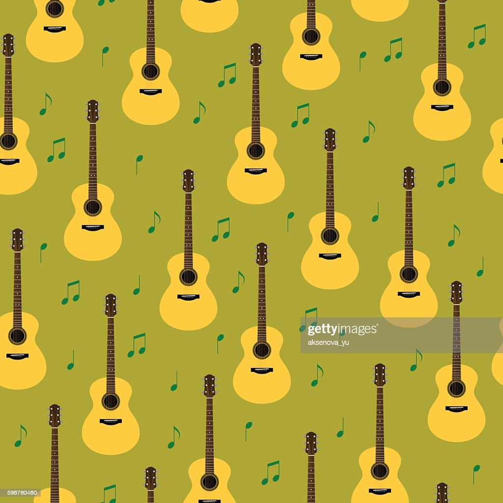 Vector seamless pattern with guitars