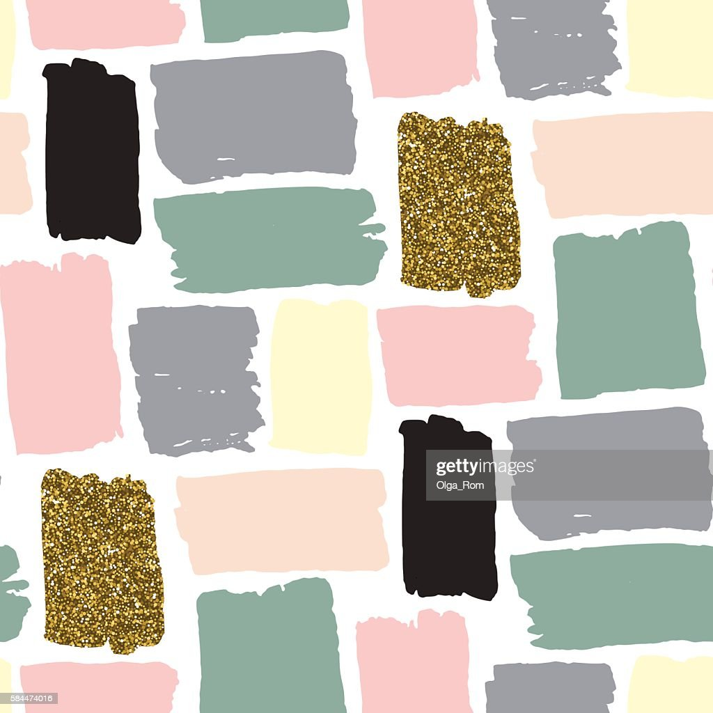 Vector seamless pattern with hand drawn gold glitter strokes