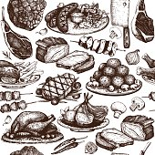 Vector seamless pattern with hand drawn meat illustration.