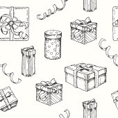 Vector seamless pattern with Hand drawn Set of different gifts and packages and serpentine. Sketch. Engraving. Christmas, New Year, happy Birthday. Pattern for wallpaper, web page, surface textures.