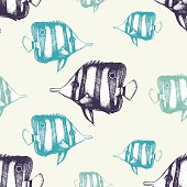 Vector seamless pattern with hand drawn small fish.