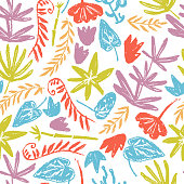 Vector seamless pattern with hand drawn textured plants