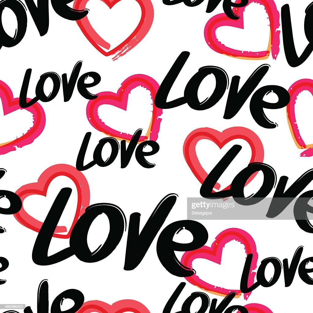 Vector seamless pattern with hand drawn word love, red heart.
