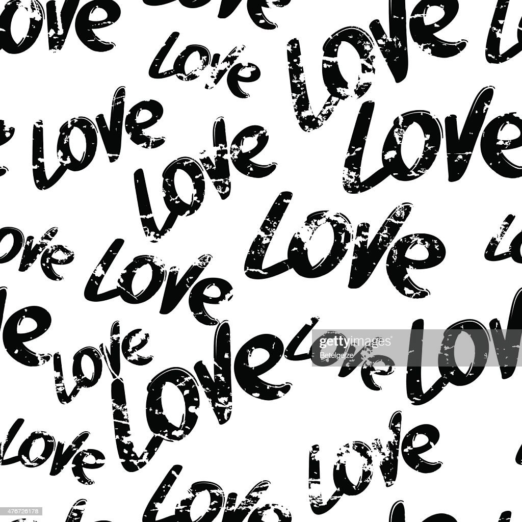 Vector seamless pattern with hand drawn word love