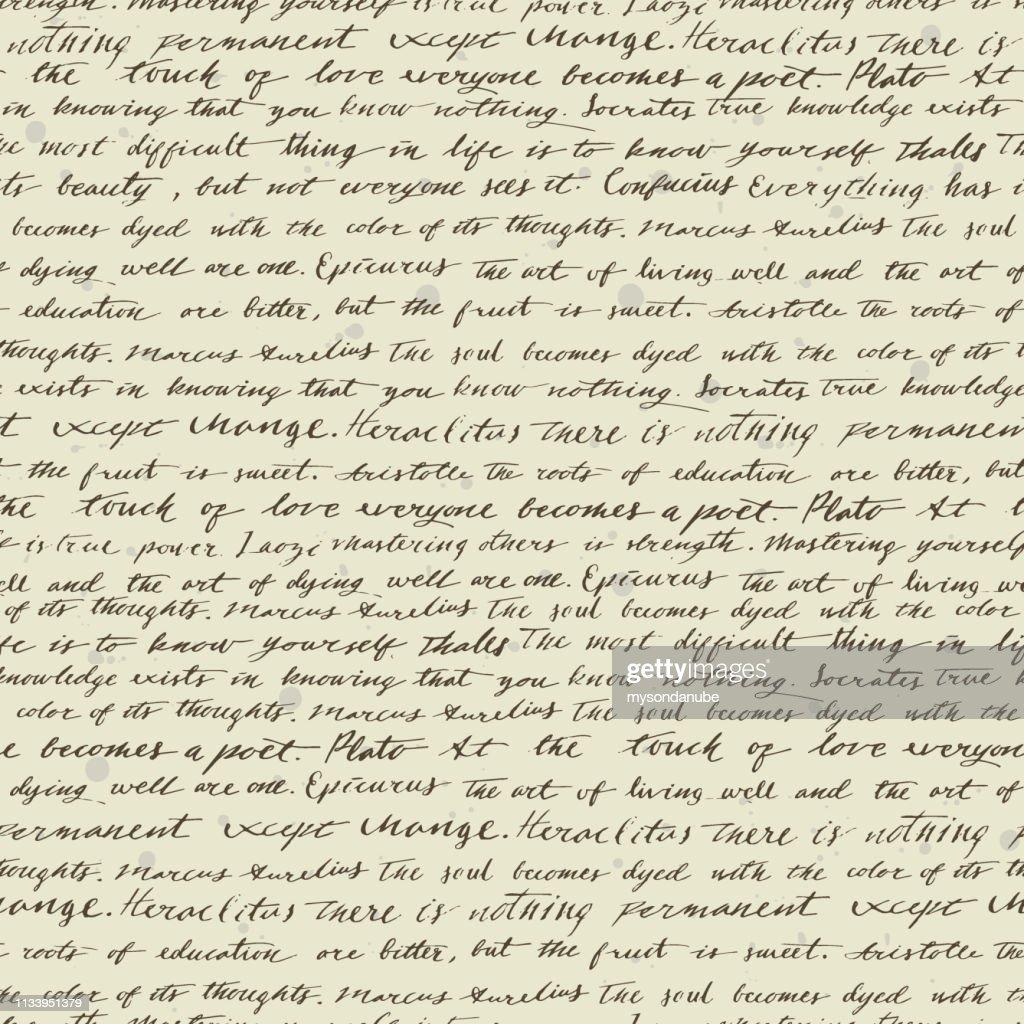 古代哲学者によって有名な引用を手書きでベクトルシームレスパターン : ストックイラストレーション