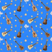 Vector seamless pattern with hawaiian guitars ukulele