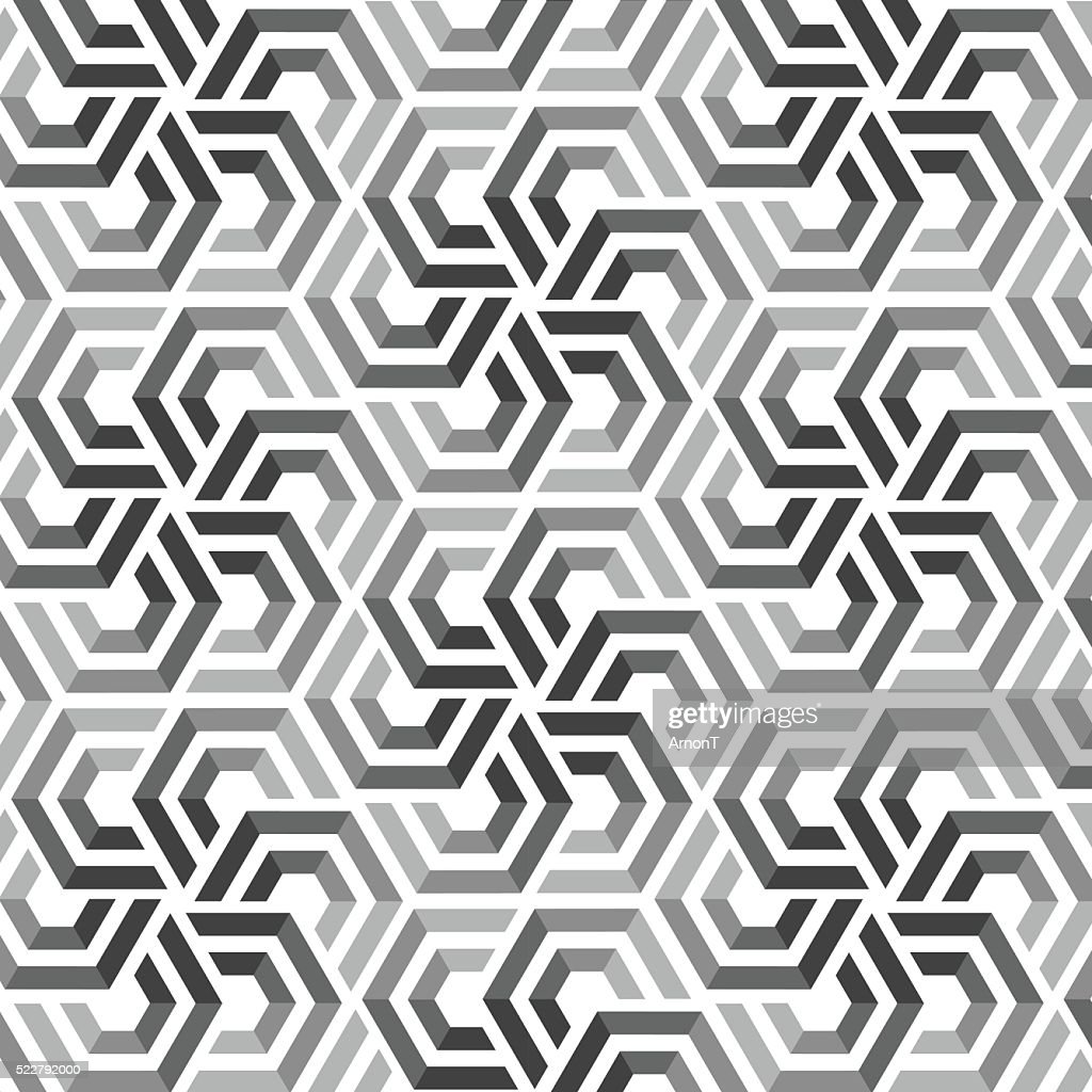 Vector seamless pattern with hexagonal elements