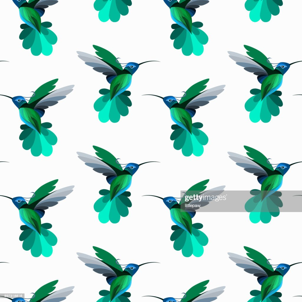 Vector seamless pattern with hummingbirds, colibri. Texture for wallpapers, textile design, web page backgrounds