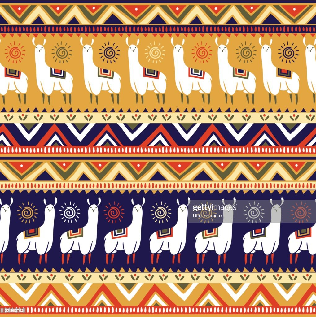 Vector seamless pattern with lamas and geometrical ornaments.