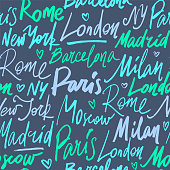 Vector seamless pattern with names of world cities