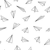 Vector seamless pattern with origami planes. Abstract creative background