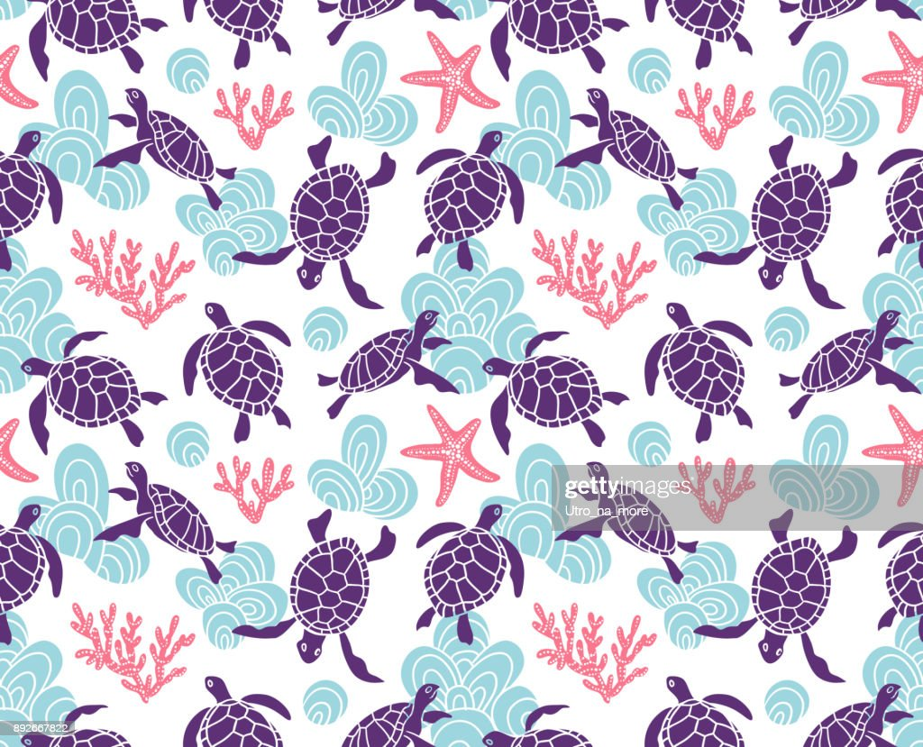 Vector seamless pattern with ornamental ocean turtles. Blue ethnic hand drawn fabric design
