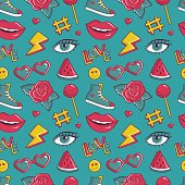 Vector seamless pattern with retro patches.