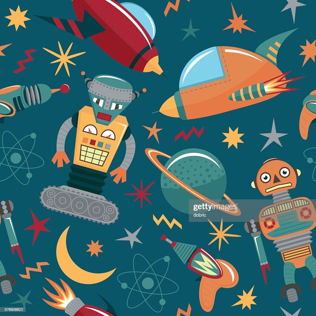 Vector seamless pattern with robots, spaceships and planets