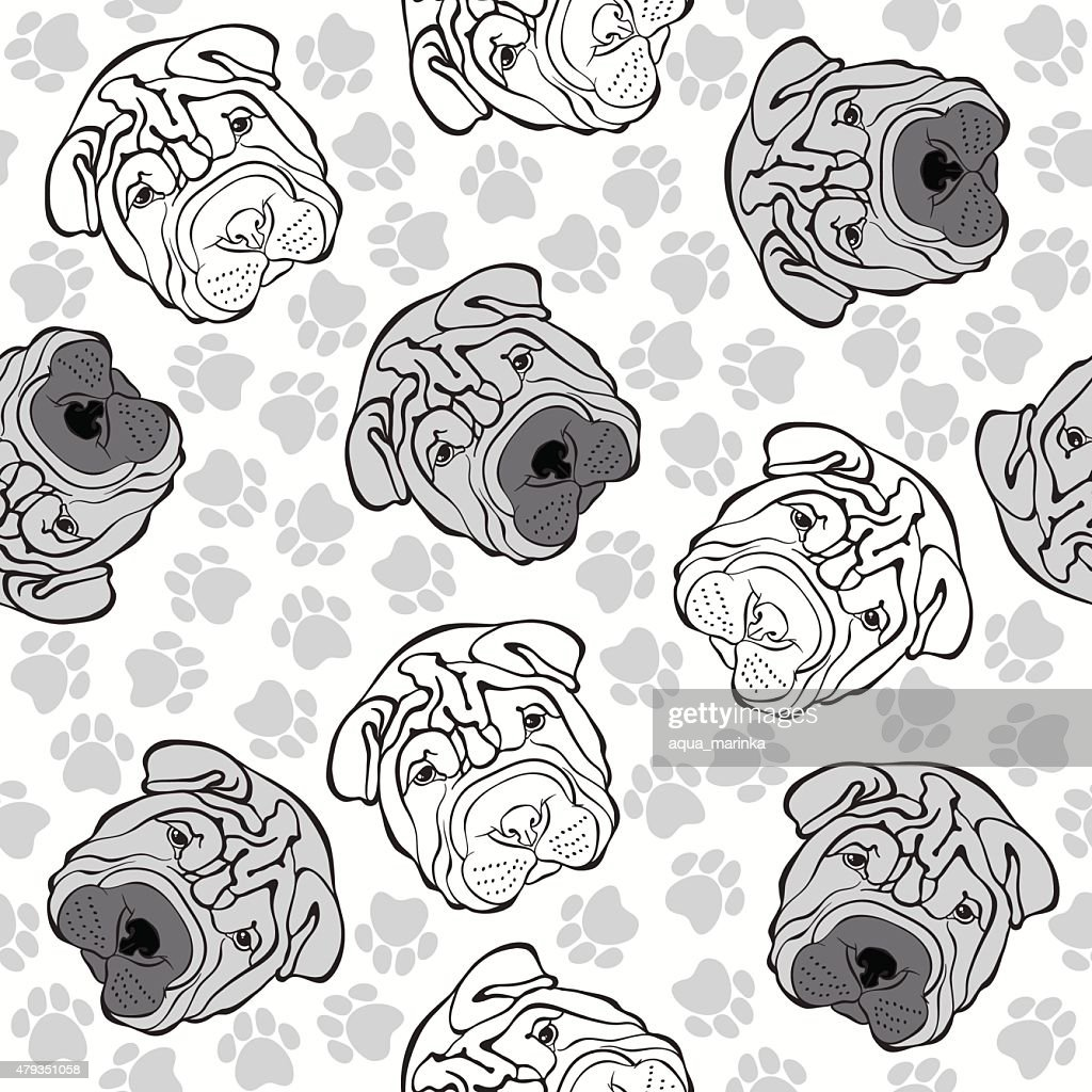 Vector seamless pattern with sharpei and traces. Monochrome background.