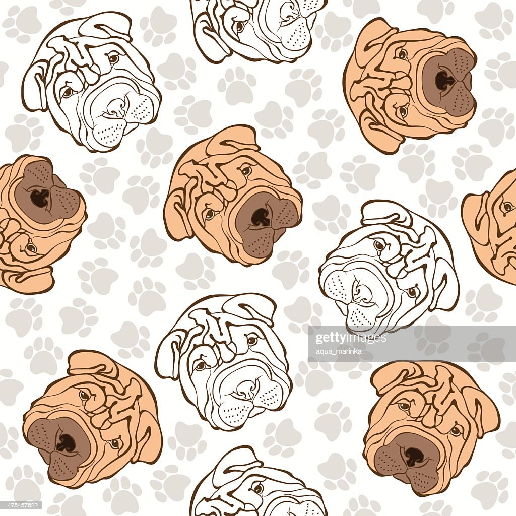 Vector seamless pattern with sharpei and traces.