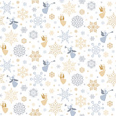 Vector seamless pattern with snowflakes and angels