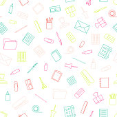 Vector seamless pattern with stationery. Stationery tools seamle