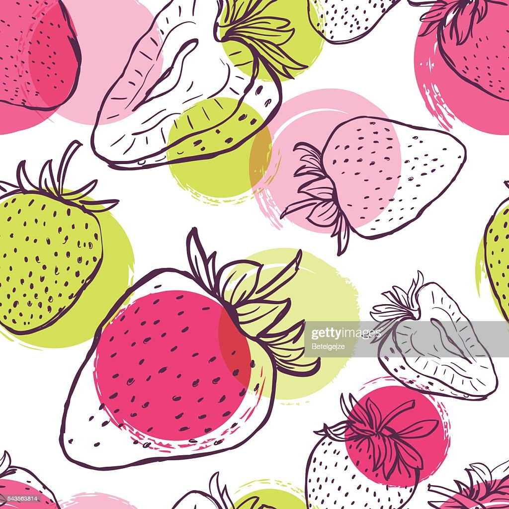 Vector seamless pattern with strawberries and colorful watercolor blots.