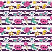Vector seamless pattern with stripes and cute patches.