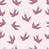 Vector seamless pattern with swallows