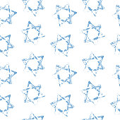 Vector seamless pattern with the blue Star of David. Background for the design of posters, cards, flyers, for the holiday of Hanukkah. Retro style. Hand drawing.
