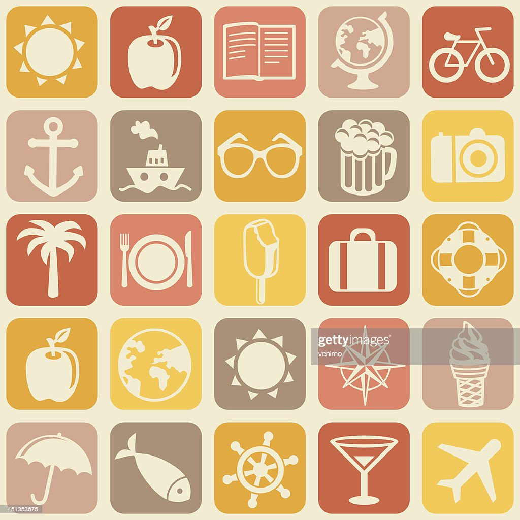 Vector seamless pattern with travel icons