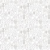 Vector seamless pattern with trendy icons of healthy eco fruits