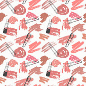 Vector seamless pattern with trendy nude shades of lipstick on white background