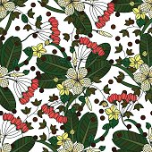 Vector seamless pattern with tropical flowers