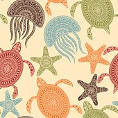 Vector Seamless Pattern with Turtles, Starfishes, and Jellyfishes