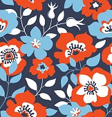 Vector seamless pattern with wild roses, vintage style fabric design.