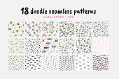 Vector Seamless Patterns Collection. Backdrop for Boys Girls textiles wrapping