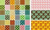 36 vector seamless patterns - hand drawn animals