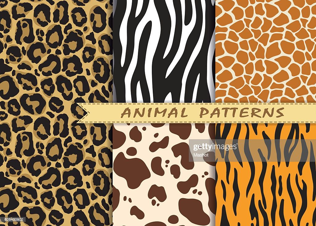 Vector seamless patterns set with animal skin texture.