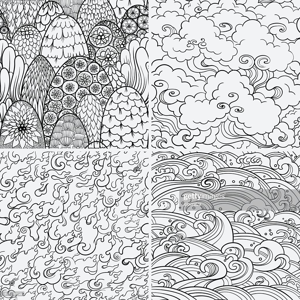 Vector seamless patterns with 4 nature elements