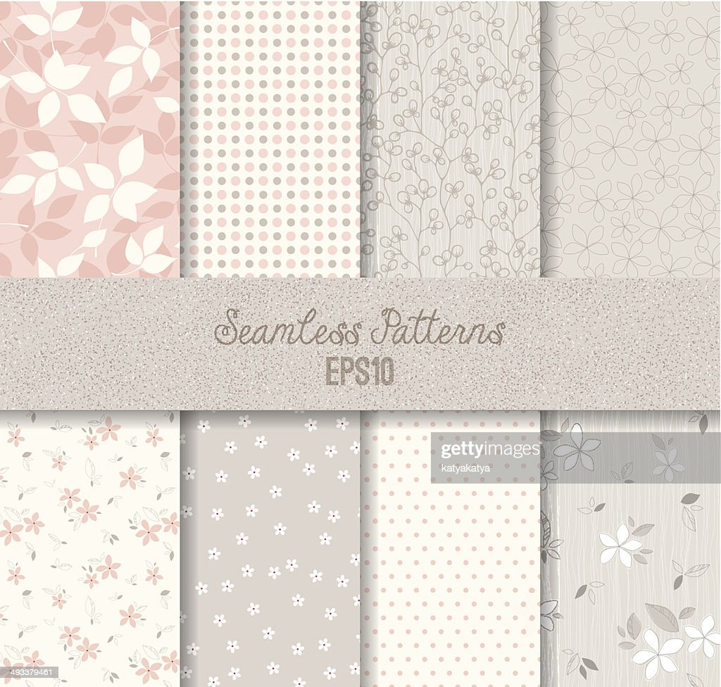 Vector seamless pink and gray patterns
