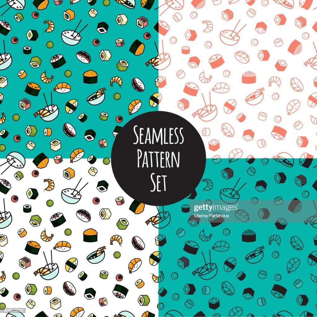 Vector seamless sushi pattern set