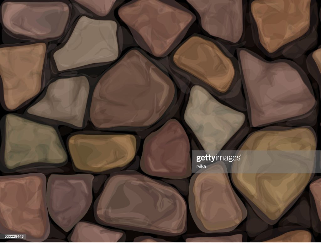 Vector seamless texture brown stones wall.