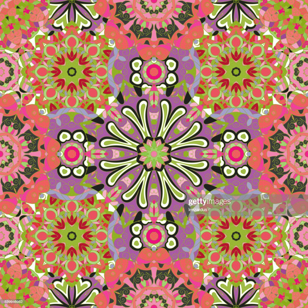 Vector seamless texture with abstract flowers.
