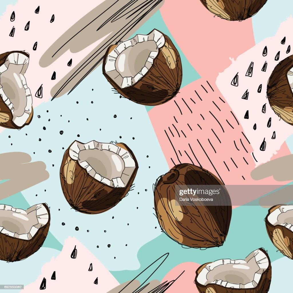 Vector seamless tropical background with ink drawn coconut. Food illustration in vintage style for print, textile, wrapping and other seamless design.