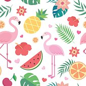 Vector seamless tropical pattern.