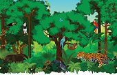 Vector seamless tropical rainforest Jungle background pattern illustration with animals