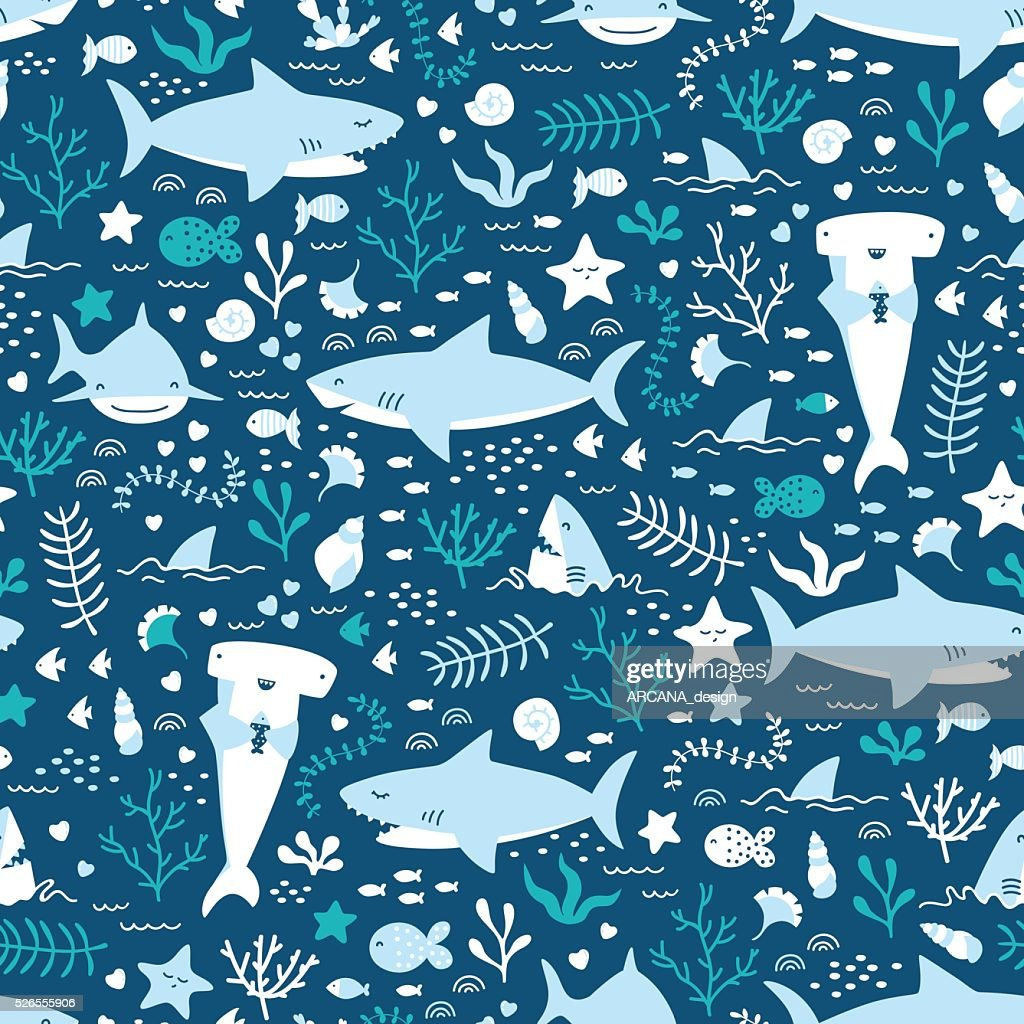 Vector seamless underwater pattern with cute sharks
