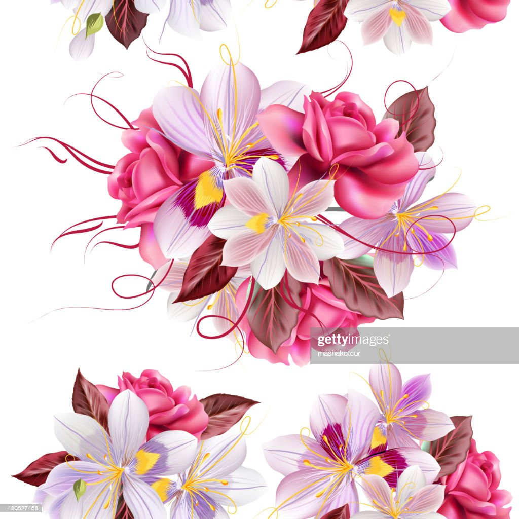 Vector seamless wallpaper pattern with roses and hyacinth flower : Vectorkunst