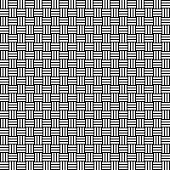 Vector seamless weave pattern. Rattan texture. Black-and-white background. Monochrome design.